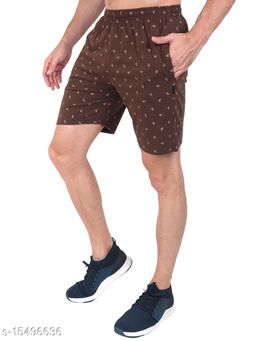Zeffit Men Pc Cotton Printed Bermuda Shorts-COFFEE