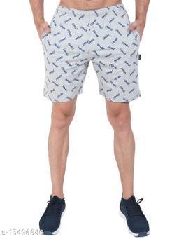 Zeffit Men Pc Cotton Printed Bermuda Shorts-GREY