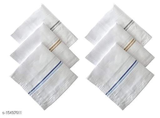ARNAH TREASURE  Cotton 10 Piece Men's Handkerchief Set - White Colored Stripe