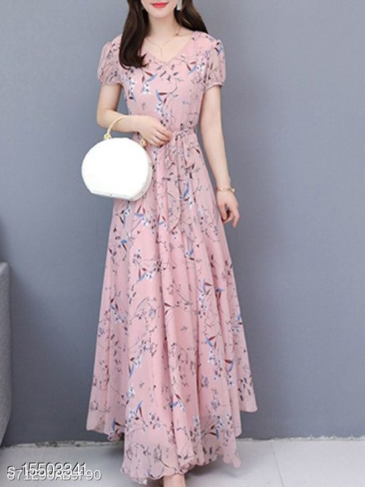 Womens_Baby Pink Flower Print Dress_0106