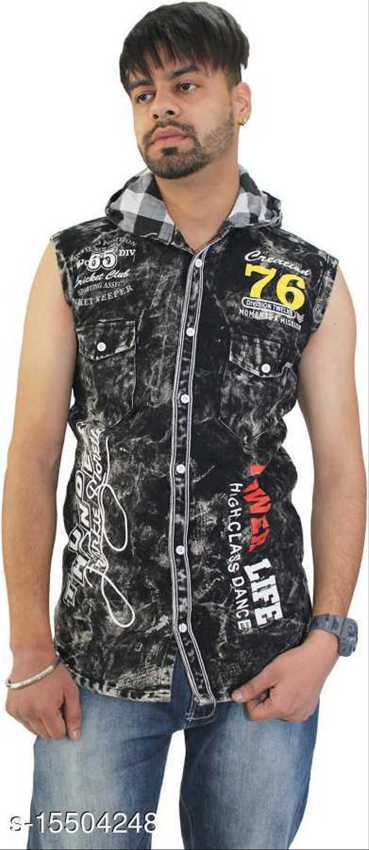 Men Regular Fit Printed, Washed Hood Collar Casual Shirt