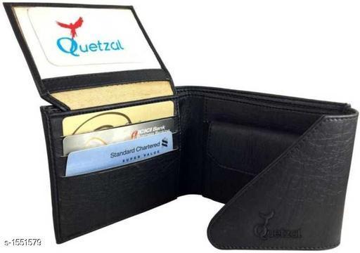 Trendy Men's Black Faux Leather/Leatherette Wallet