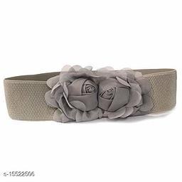 Women Casual Grey Faux Leather Belt