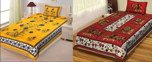Single Bed Bedsheet Combo Pack 2 Jaipuri Single Bedsheet with 2 Pillow Cover