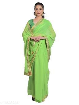 Women's saree in Dola silk Fabric with Ethnic Gotta butta work with Designer Border