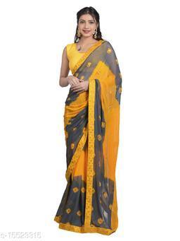 Women's saree in Chiffon Fabric with Ethnic Embroidery butta kundan work with Designer Border