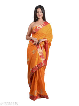 Women's saree in Dola silk Fabric with Ethnic Embroidery butta work with Designer Border