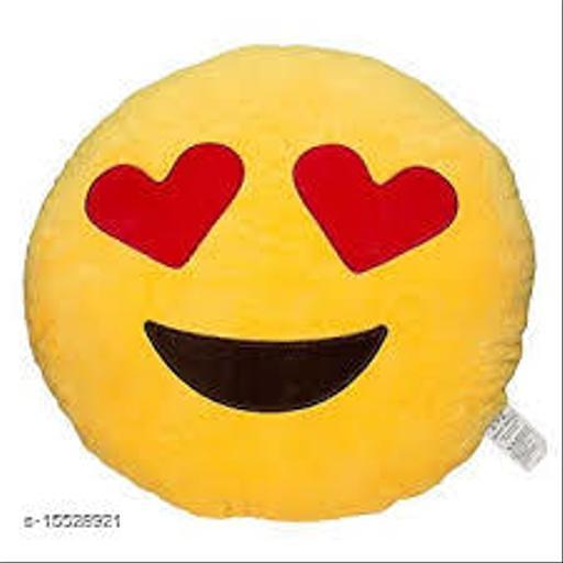 Ultimated ZoneHome Decor Plush Heart-Eye SmileyEmojiPillow Yellow Cushion-12x12 Inch