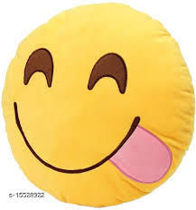 Ultimated ZoneHome Decor Plush Naughty Smile SmileyEmojiPillow Yellow Cushion-12x12 Inch
