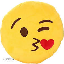 Ultimated ZoneHome Decor Plush Kissable SmileyEmojiPillow Yellow Cushion-12x12 Inch