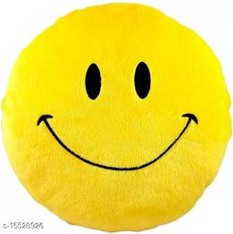 Ultimated ZoneHome Decor Plush Fake Smile Smiley Emoji Pillow Yellow Cushion-12x12 Inch