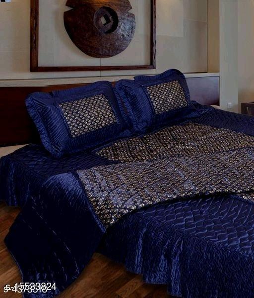 Jaxmom Luxury Satin Bedsheet Set (Set of 3 Pieces) 1 Bedsheet :: 2 Pillow Cover (Blue)