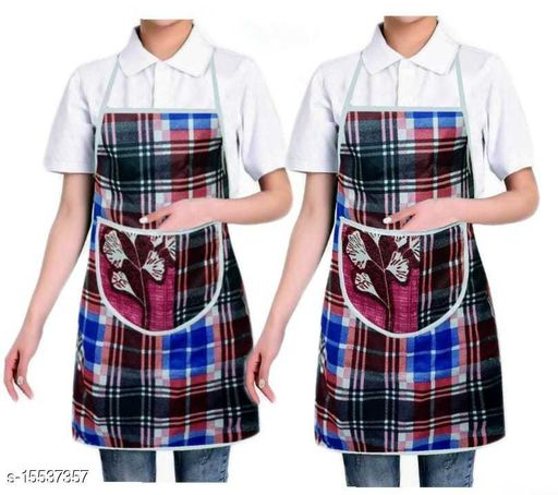 Nicasa Cotton Waterproof Kitchen Apron with Front Pocket Set of 2 Pcs (Color As Per Availability)