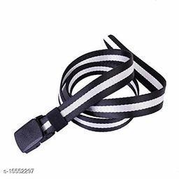 Casual, Formal Black, White Nylon Belt