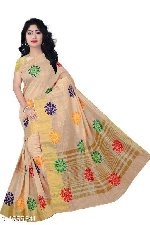 Sarees Pretty South Silk Saree  *Fabric* Saree - South Silk, Blouse - South Silk  *Size* Saree Length - 5.3 Mtr, Blouse Length - 0.70 Mtr  *Work* Embroidered  *Sizes Available* Free Size *   Catalog Rating: ★4 (11)  Catalog Name: Inaaya Embroidered Kasavu Silk Sarees CatalogID_202244 C74-SC1004 Code: 484-1555641-