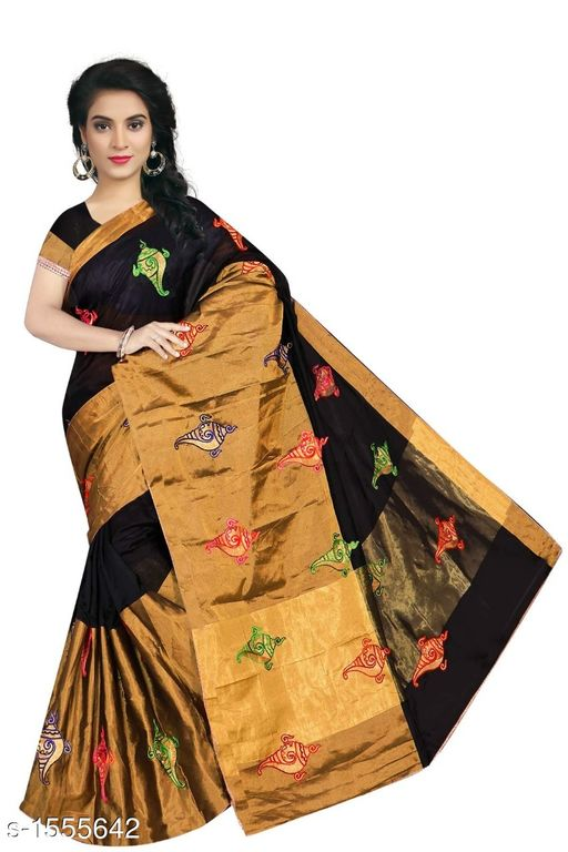 Sarees Pretty South Silk Saree  *Fabric* Saree - South Silk, Blouse - South Silk  *Size* Saree Length - 5.3 Mtr, Blouse Length - 0.70 Mtr  *Work* Embroidered  *Sizes Available* Free Size *   Catalog Rating: ★4 (11)  Catalog Name: Inaaya Embroidered Kasavu Silk Sarees CatalogID_202244 C74-SC1004 Code: 484-1555642-