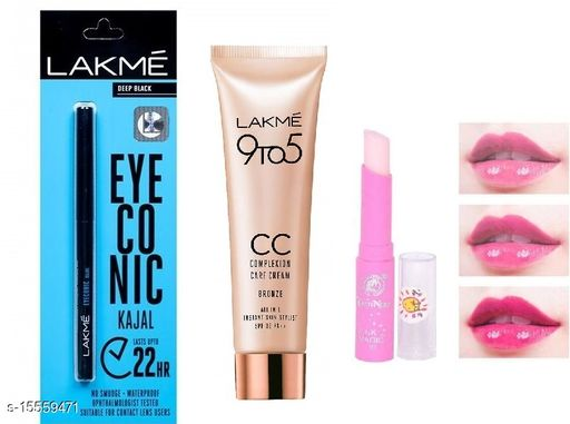 Lakme 9 To 5 CC Cream 9gm With Lakme Eye-Conic Deep Black Kajal With Magic Pink Lip Balm