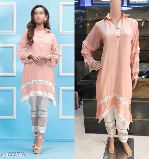 Kurta Sets Women's Solid Rayon Kurta set with Pants  *Fabric* Kurti - Georgette , Pant - Poly Cotton  *Sleeves* 3/4 Sleeves Are Included  *Size* Kurti -  XL- 42 in  , Pant - Up To 36 in To 42 in ( Free Size)  *Length* Kurti - Up to 37 in, Pant - Up To 38 in  *Type* Stitched  *Description* It Has 1 Piece Of Women's Kurti With 1 Piece Of Pant  *Work  * Kurti - Beads Work, Pant - Solid  *Sizes Available* XL *    Catalog Name: Women's Solid Rayon Kurta Sets CatalogID_202808 C74-SC1003 Code: 149-1559710-