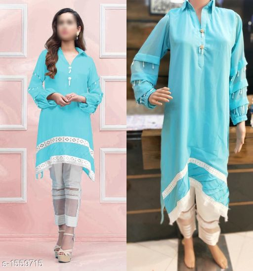 Kurta Sets Women's Solid Georgette Kurta set with Pants  *Fabric* Kurti - Georgette , Pant - Poly Cotton  *Sleeves* 3/4 Sleeves Are Included  *Size* Kurti -  XL- 42 in  , Pant - Up To 36 in To 42 in ( Free Size)  *Length* Kurti - Up to 37 in, Pant - Up To 38 in  *Type* Stitched  *Description* It Has 1 Piece Of Women's Kurti With 1 Piece Of Pant  *Work  * Kurti - Beads Work, Pant - Solid  *Sizes Available* XL *    Catalog Name: Women's Solid Rayon Kurta Sets CatalogID_202808 C74-SC1003 Code: 149-1559715-