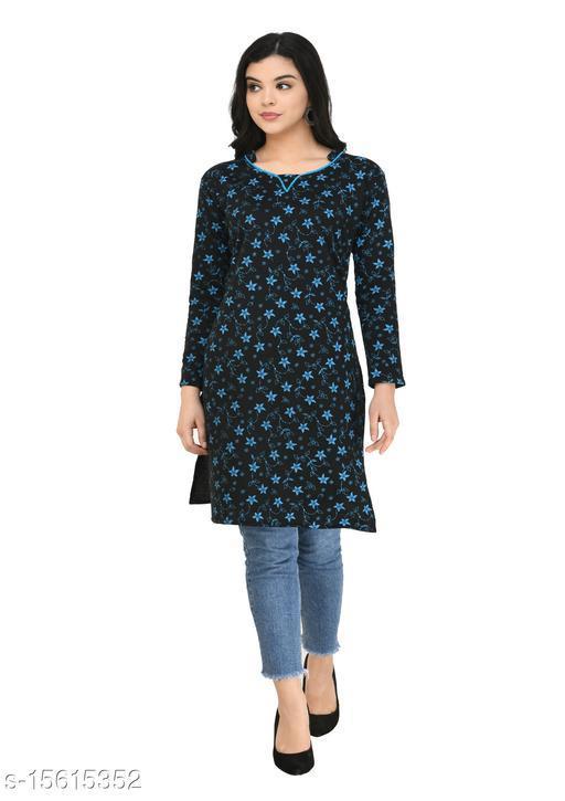 KAVYA Women Fleece Warm Full Sleeves Printed Kurti for Winters (Pack of 1)