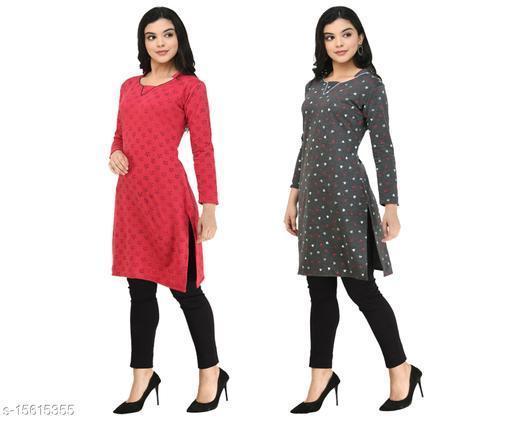 KAVYA Women Fleece Warm Full Sleeves Printed Kurti for Winters (Pack of 2)