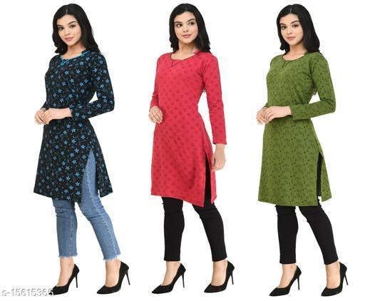 KAVYA Women Fleece Warm Full Sleeves Printed Kurti for Winters (Pack of 3)