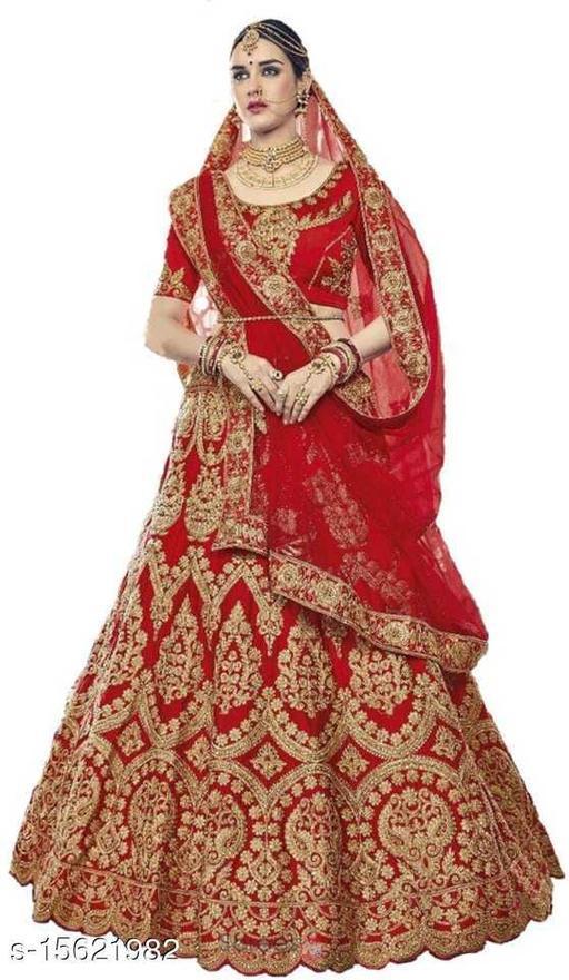 Embroidered Semi Stitched Lehenga Saree (Red)