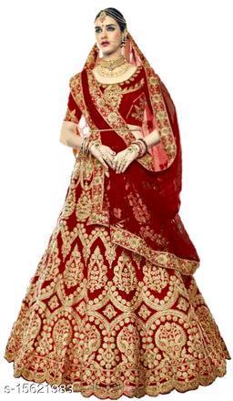Embroidered Semi Stitched Lehenga Saree (Maroon)