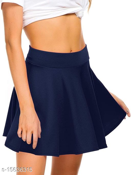RL Fashion Women Stretch Waist Flared Mini Skater Short Skirt-NavyBlue