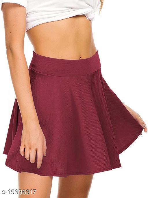 RL Fashion Women Stretch Waist Flared Mini Skater Short Skirt-Maroon