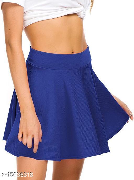 RL Fashion Women Stretch Waist Flared Mini Skater Short Skirt-Royalblue