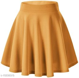 RL Fashion Women Stretch Waist Flared Mini Skater Short Skirt-Mustard