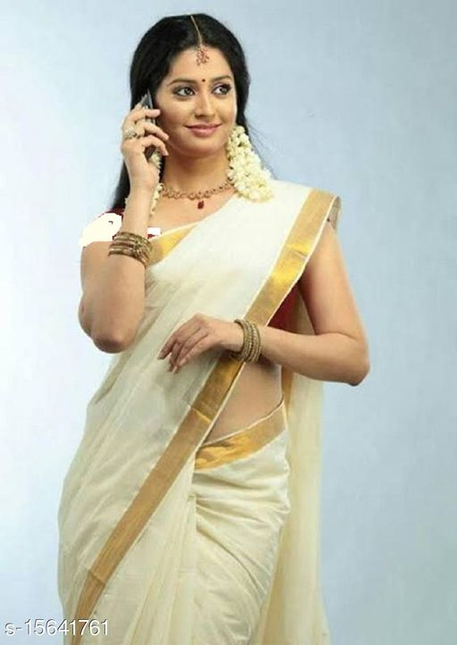 KERALA KASAVU TRADITIONAL PLAIN COTTON CREAM COLOR SAREE WITH  BEST QUALITY 2 BY 3  INCHES ZARI IN  PALLU