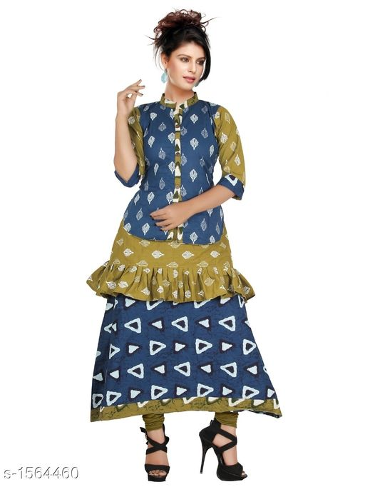 Kurtis & Kurtas Contemporary Cotton Printed Kurti  *Fabric* Cotton  *Sleeves* Sleeves Are Included  *Size* L - 40 in, XL - 44 in           *Length* Up To 48 in  *Type* Stitched  *Description* It Has 1 Piece Of Women's Kurtis  *Work* Printed  *Sizes Available* L, XL   Supplier Rating: ★4.1 (552) SKU: CCPK_2 Free shipping is available for this item. Pkt. Weight Range: 300  Catalog Name: Kashvi Contemporary Cotton Printed Kurtis Vol 3 - Dracy Code: 876-1564460--
