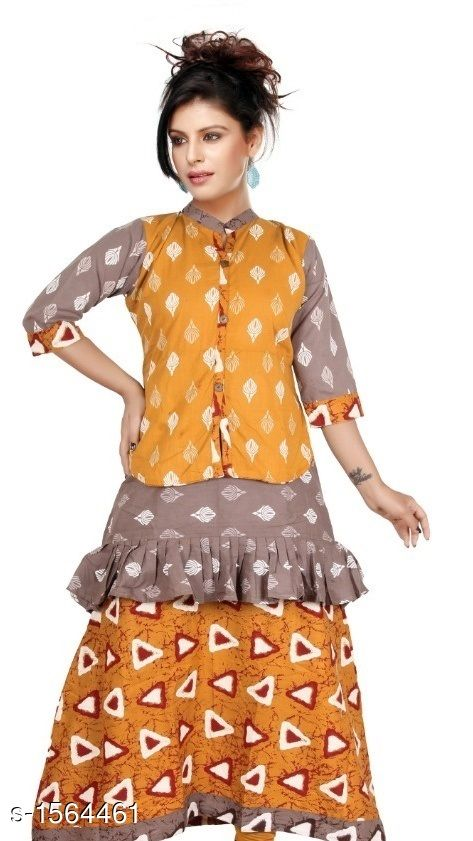 Kurtis & Kurtas Contemporary Cotton Printed Kurti  *Fabric* Cotton  *Sleeves* Sleeves Are Included  *Size* L - 40 in, XL - 44 in           *Length* Up To 48 in  *Type* Stitched  *Description* It Has 1 Piece Of Women's Kurtis  *Work* Printed  *Sizes Available* L, XL   Supplier Rating: ★4.1 (552) SKU: CCPK_3 Free shipping is available for this item. Pkt. Weight Range: 300  Catalog Name: Kashvi Contemporary Cotton Printed Kurtis Vol 3 - Dracy Code: 876-1564461--