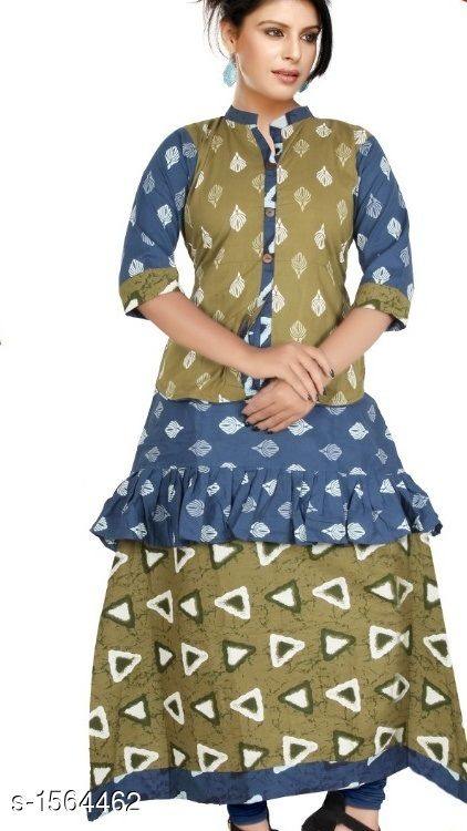 Kurtis & Kurtas Contemporary Cotton Printed Kurti  *Fabric* Cotton  *Sleeves* Sleeves Are Included  *Size* L - 40 in, XL - 44 in           *Length* Up To 48 in  *Type* Stitched  *Description* It Has 1 Piece Of Women's Kurtis  *Work* Printed  *Sizes Available* L, XL   Supplier Rating: ★4.1 (552) SKU: CCPK_4 Free shipping is available for this item. Pkt. Weight Range: 300  Catalog Name: Kashvi Contemporary Cotton Printed Kurtis Vol 3 - Dracy Code: 876-1564462--