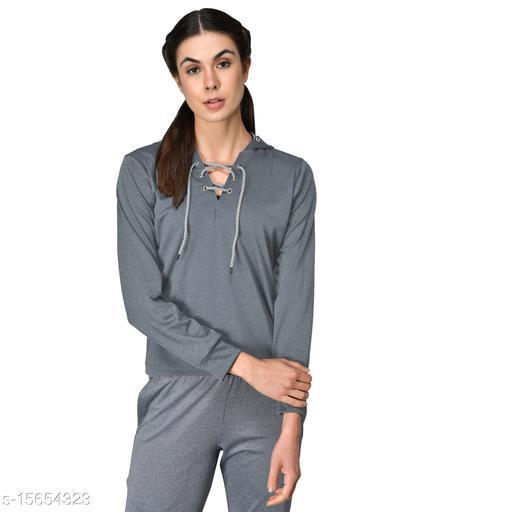 GENSHI Women Lace Up Hooded Pullover Sweatshirt