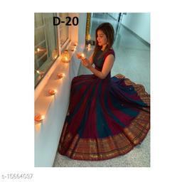 Women Taffeta Silk Anarkali Gown