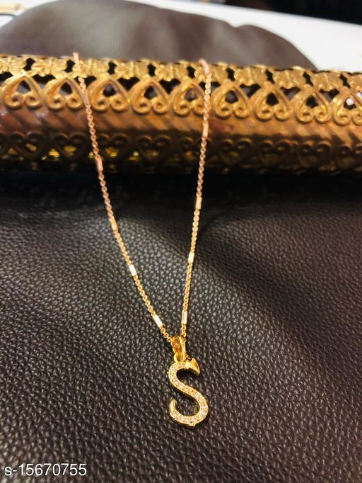 Brass Designer Gold Plated Alphabet Pendent With Chain