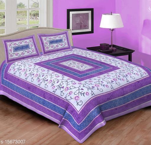 Double King Size Sanganeri Bedsheet Cotton Printed