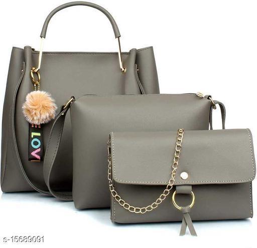 Attractive Women's Pack of 3 Grey PU Messenger Bags