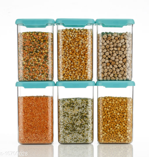 Cereal Dispenser Easy Flow Storage Jar 1100 ml, Idle for Kitchen- Storage Box Lid Food Rice Pasta Pulses Container, Square Containers for Kitchen Set of 6, blue color