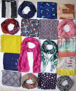 SANCHAY Assorted (Pack of 4 Scarf) New collection of 2021 multi design printed women's Scarf for all Season (Size:- free size) You will get any 4 scarf From these pictures