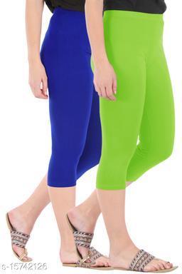 Buy That Trendz Combo Pack of 2 Skinny Fit 3/4 Capris Leggings for Women  Royal Blue Merin Green