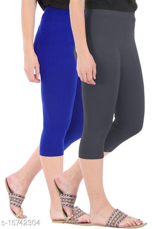 Buy That Trendz Combo Pack of 2 Skinny Fit 3/4 Capris Leggings for Women  Royal Blue Grey
