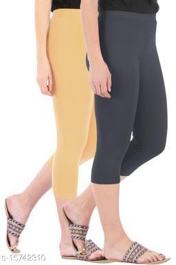 Buy That Trendz Combo Pack of 2 Skinny Fit 3/4 Capris Leggings for Women  Dark Skin Grey