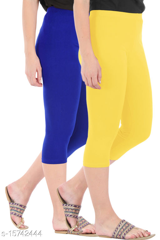 Buy That Trendz Combo Pack of 2 Skinny Fit 3/4 Capris Leggings for Women  Royal Blue Lemon Yellow