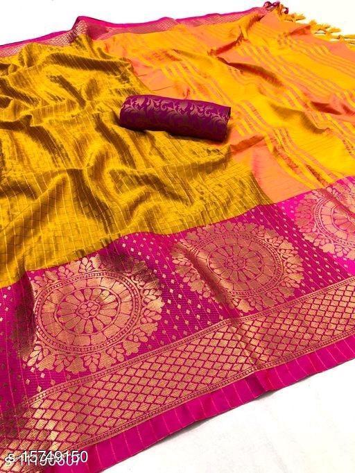 Chekered Soft Silk saree