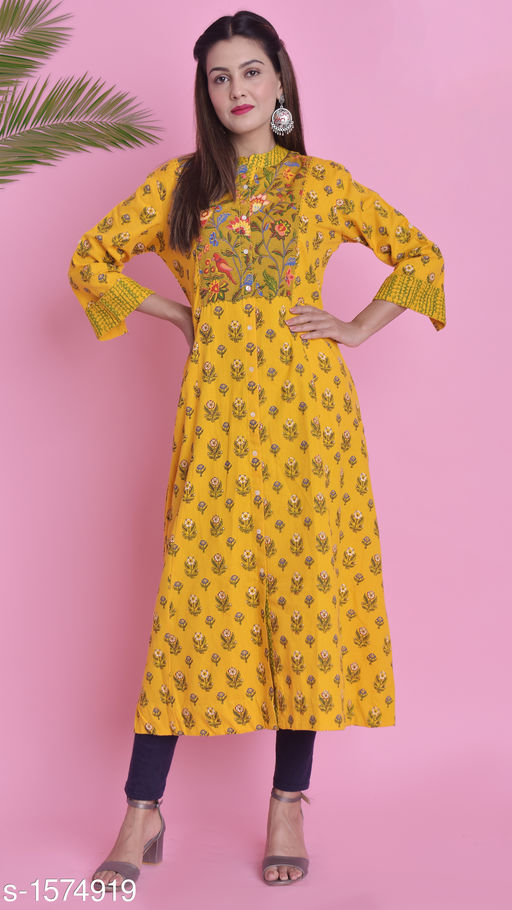 Women A-line Printed Yellow Kurti