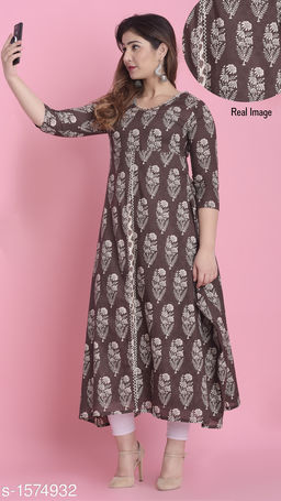 Divena Women's Cotton Floral Printed Layered Kurti